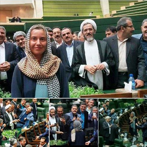 Federica Mogherini Rouhani Ghasem Souleymani #No2Rouhani Majlis selfie