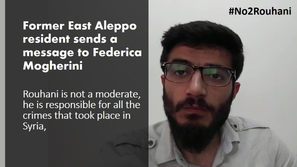#No2Rouhani Former East Aleppo residents message